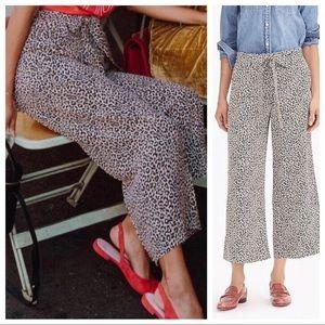 J. Crew Silk Wide Leg Crop Pant In Leopard Print